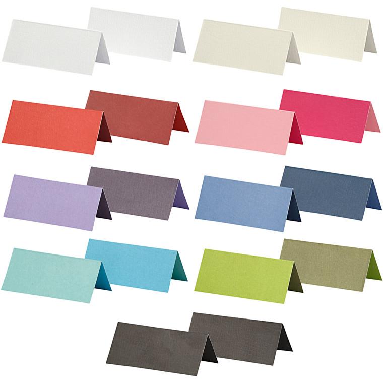 Bordkort, str. 9x4 cm, 250 g, ass. farver, 30pk.