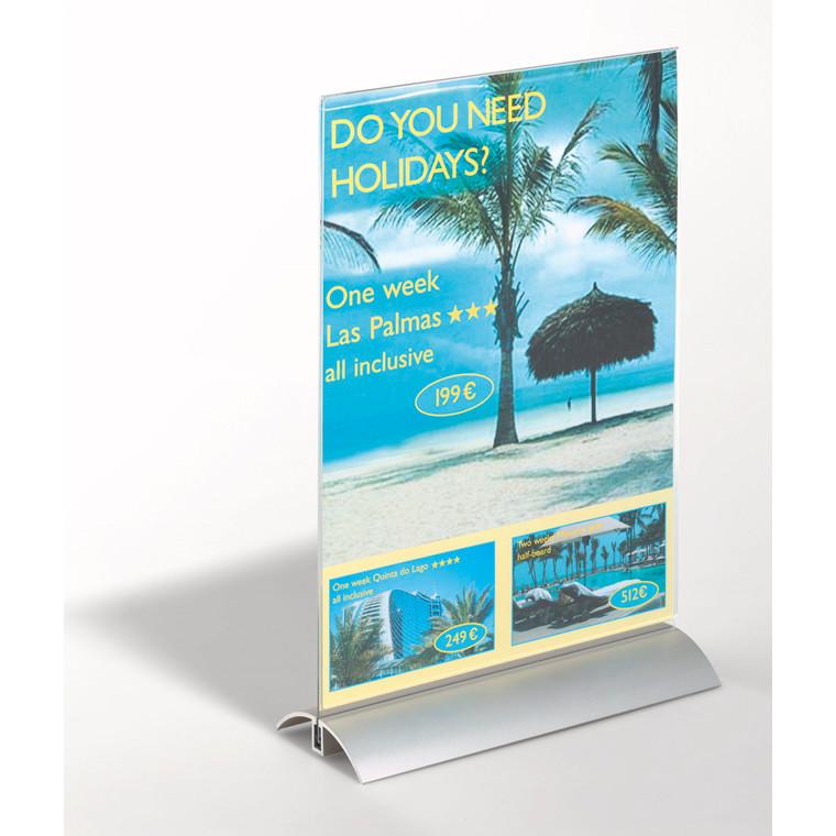 Bordskilteholder - A4 de luxe 8589 alu + acryl