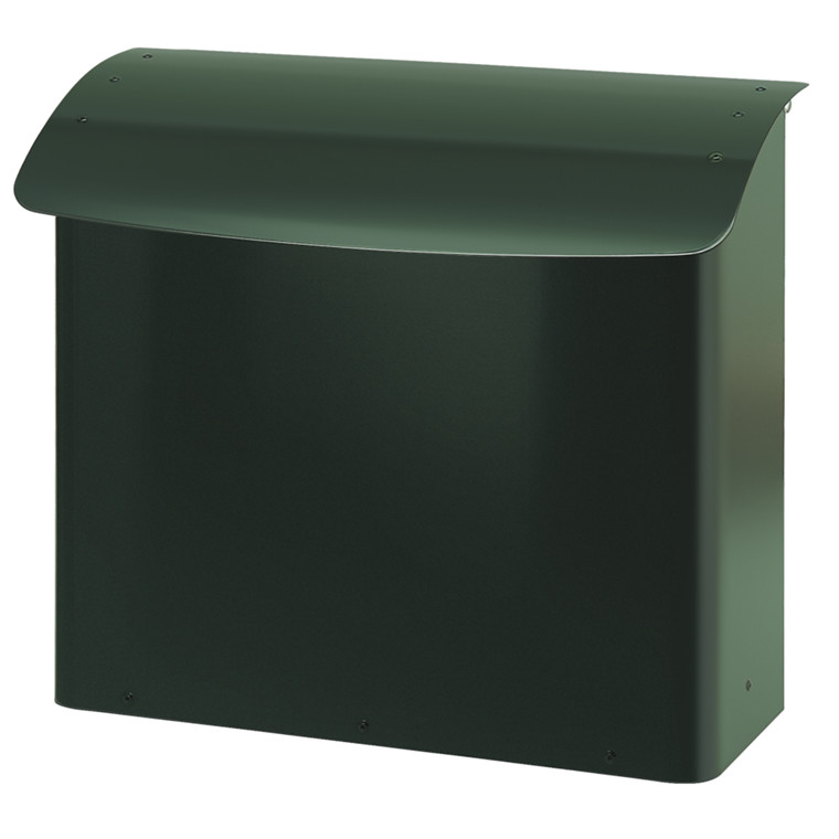 Brandsikret postkasse, V-part, klar til vægmontering, grøn,