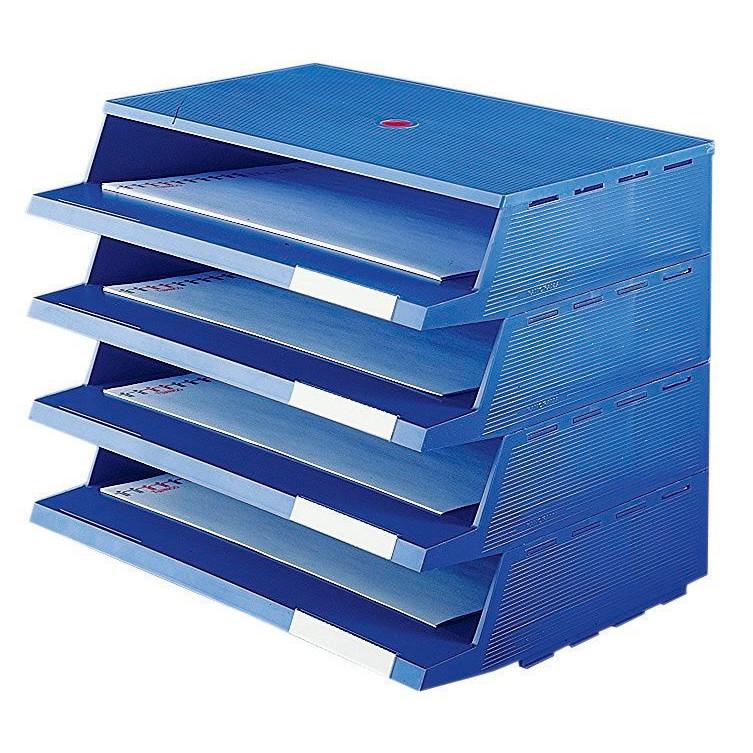 Twin Panorama brevbakkesystem A4 blå - 4 stk brevbakker i pakke