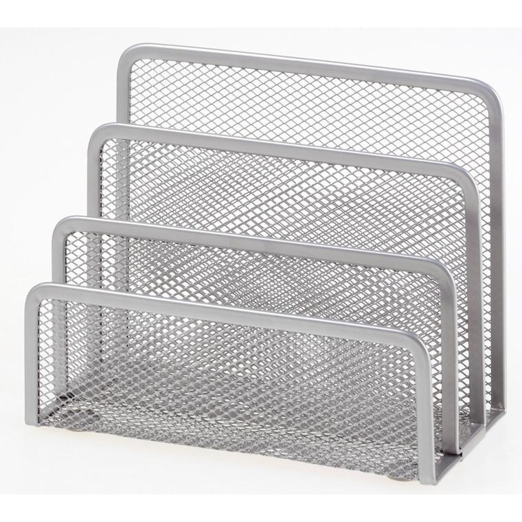 Brevholder OD sølv metal mesh 3 rum til breve m.m.