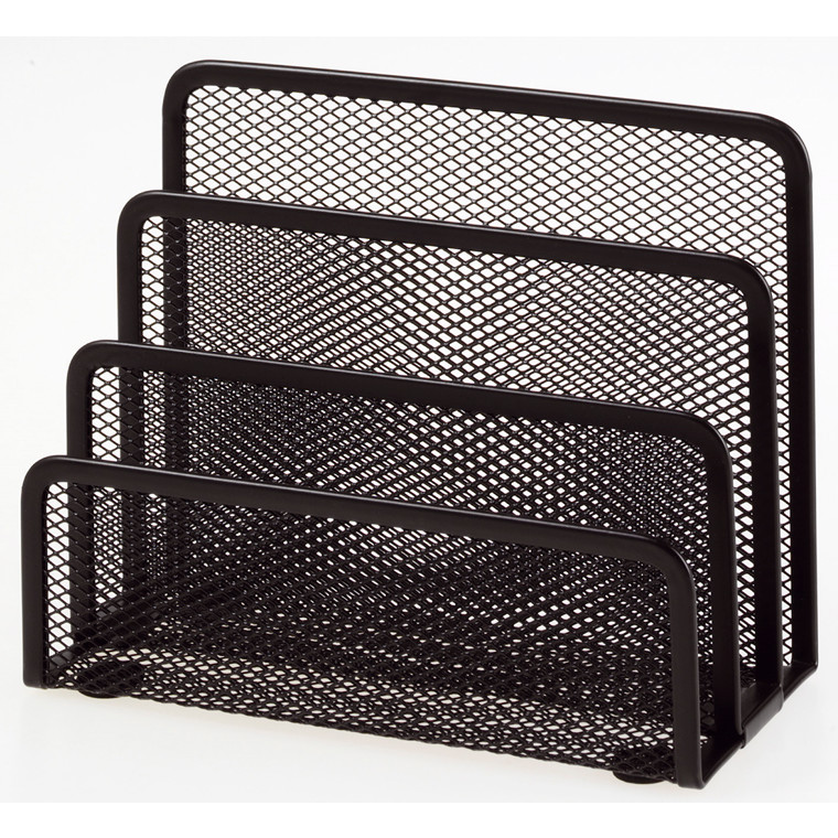 Brevholder OD sort metal mesh 3 rum til breve m.m.