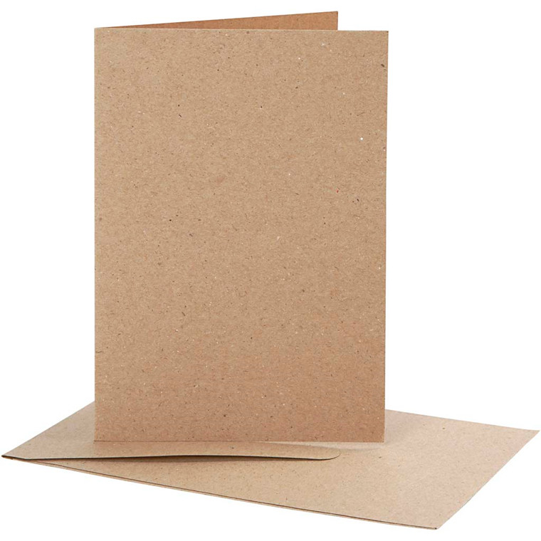 Brevkort størrelse 10,5 x 15 cm kuvert størrelse 11,5 x 16,5 cm natur - 10 sæt