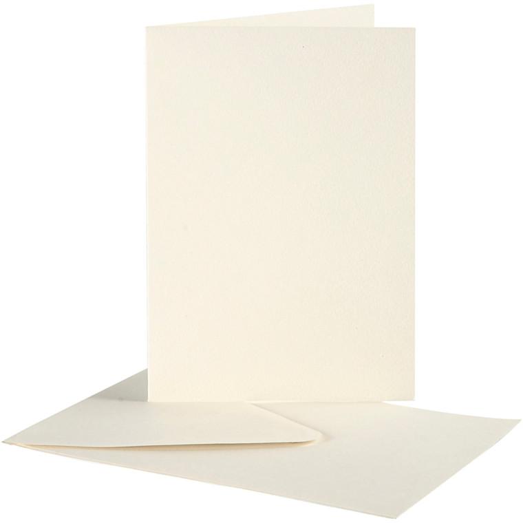Brevkort kort størrelse 10,5 x 15 cm kuvert størrelse 11,5 x 16,5 cm off-white - 10 sæt