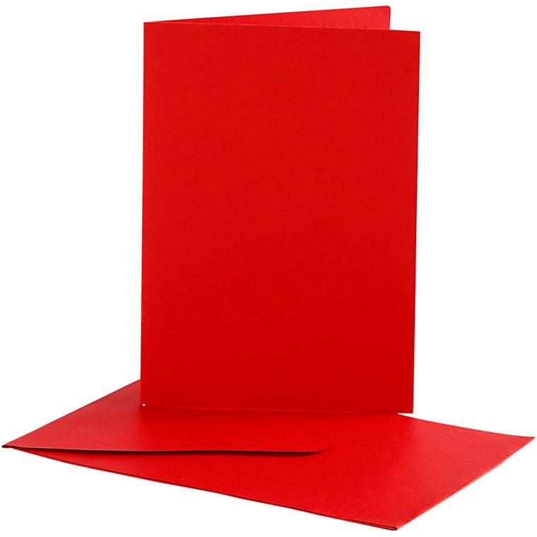 Brevkort, kort str. 10,5x15 cm, kuvert str. 11,5x16,5 cm, rød, 10sæt