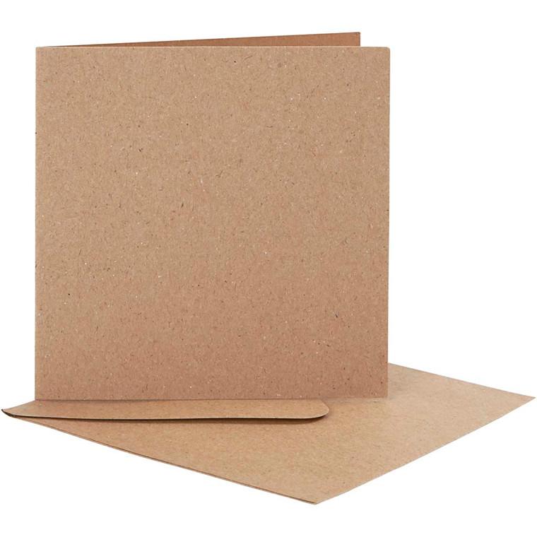 Brevkort kort str. 12,5 x 12,5 cm kuvert str. 13,5 x 13,5 cm natur - 10 sæt