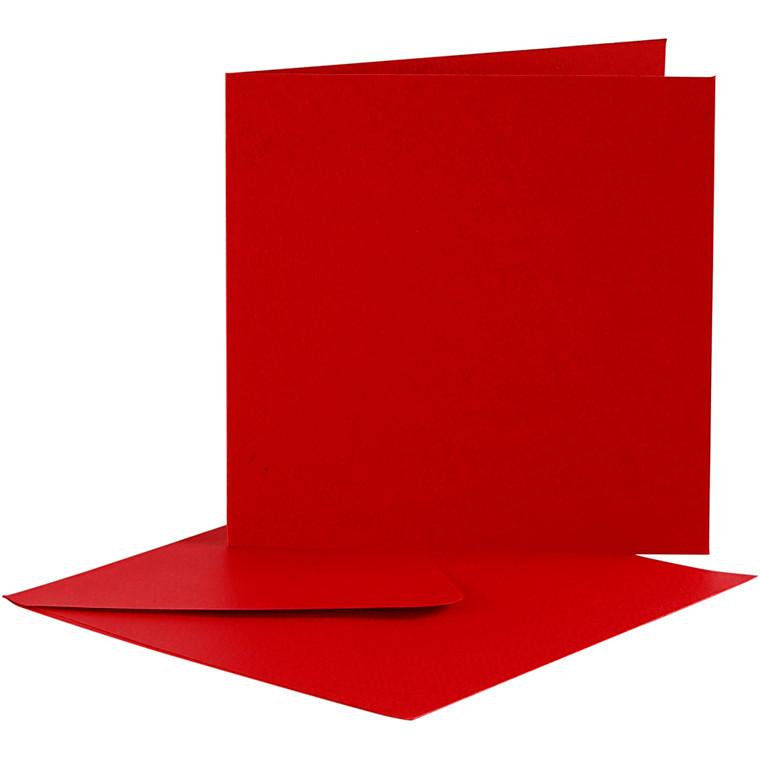 Brevkort, kort str. 12,5x12,5 cm, kuvert str. 13,5x13,5 cm, rød, 10sæt