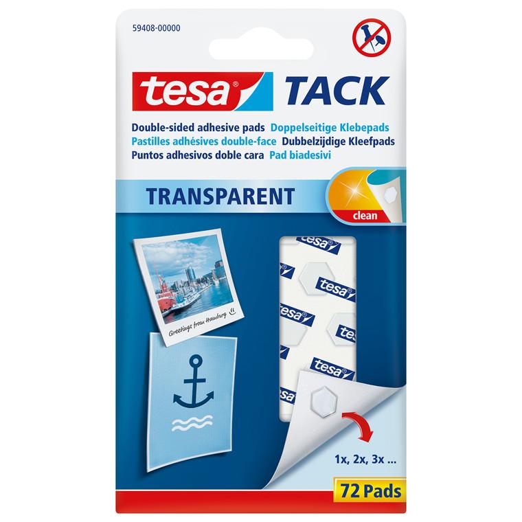 Brikker tesa Tack standard dobb. klæb transp. 72stk/pak