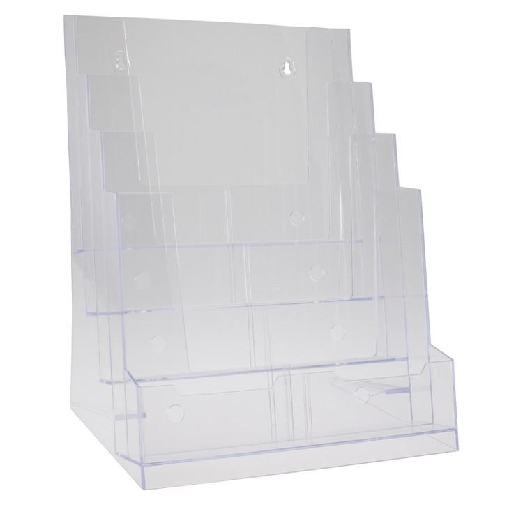 Brochureholder BNT 1/3 A4 klar 4 rum bord/væg 297x210mm