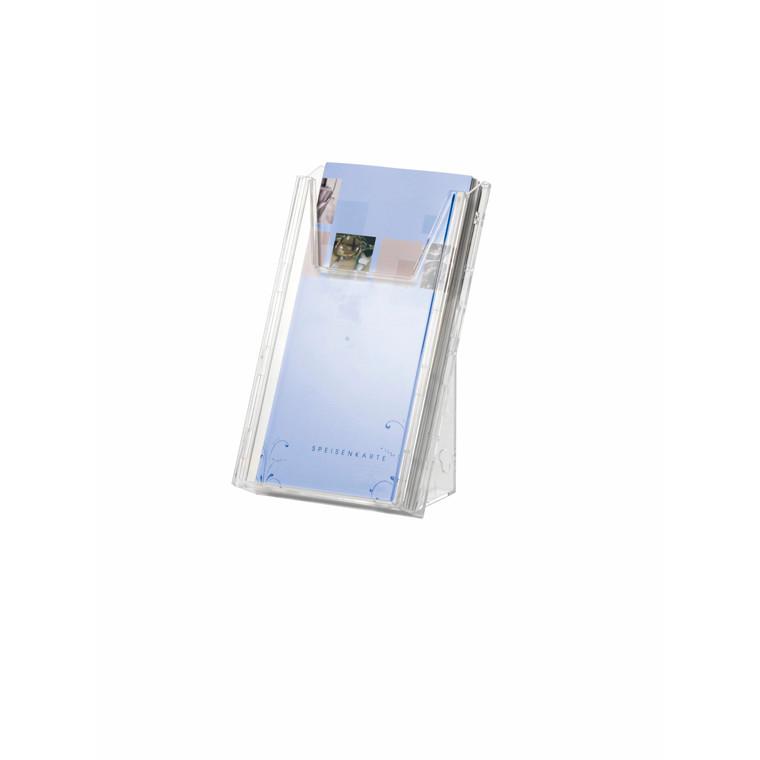 Brochureholder COMBIBOXX A4/A6 1/3 klar akryl til bord/væg