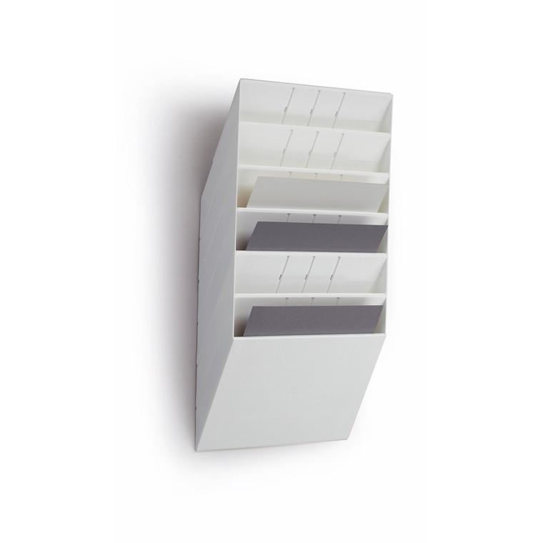 A4 Brochuredisplay Flexiboxx - Hvid med 6 rum liggende til væg