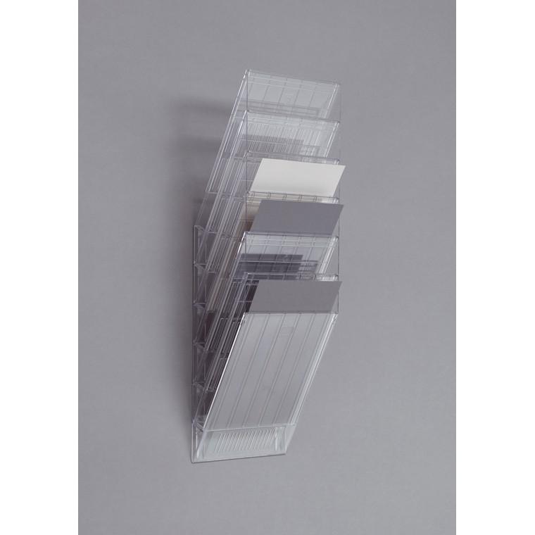 Flexiboxx Brochureholder A4 i klar plast - 6 rum stående til væg
