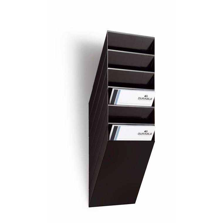 Brochureholder Flexiboxx A4 sort 6 fag stående t/væg