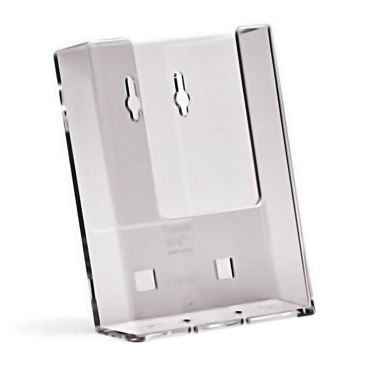 Taymar Brochureholder A6 - Til væg i klar plast - 1 rum stående