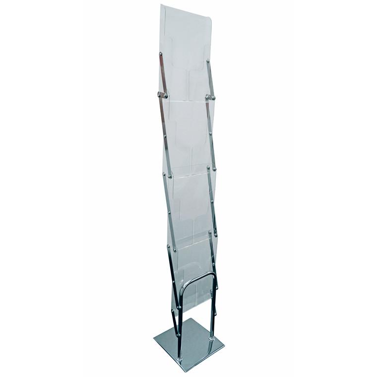 Brochurestativ TWIN Light Fold A4 gulvmodel 4 fag sølv