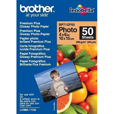Brother - 10 x 15 cm Glossy ink-jet foto papir 260 gram - 50 ark