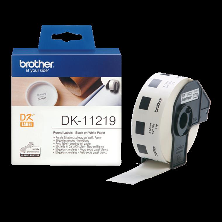 Brother DK-11219 - Runde labels Ø: 12 mm - Rulle med 1200 stk