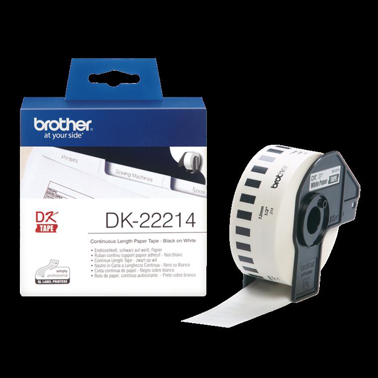 Brother DK-22214 - Papirtape 12 mm i løbende baner