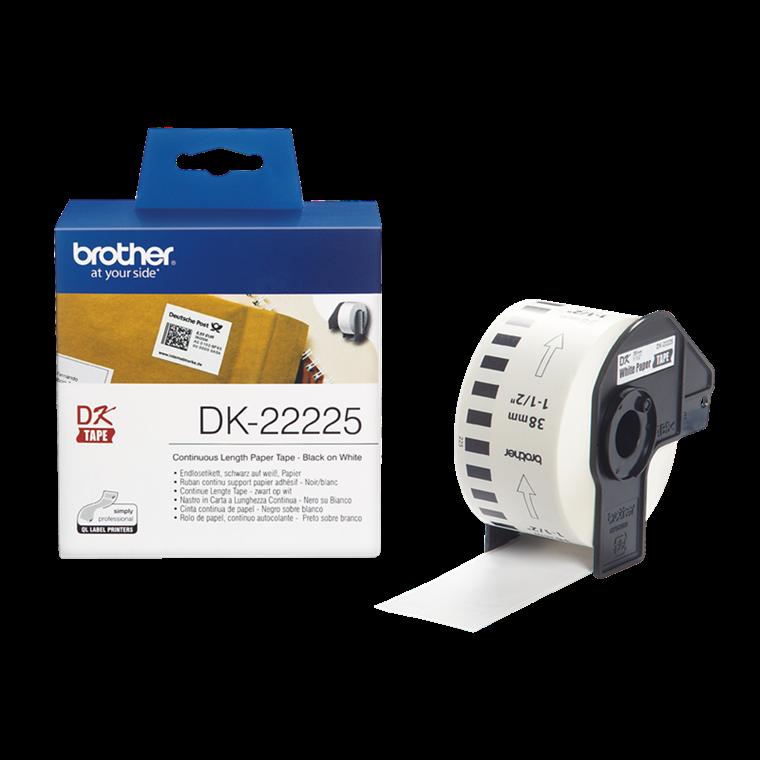 Brother DK-22225 - Papirtape 38 mm sort på hvid