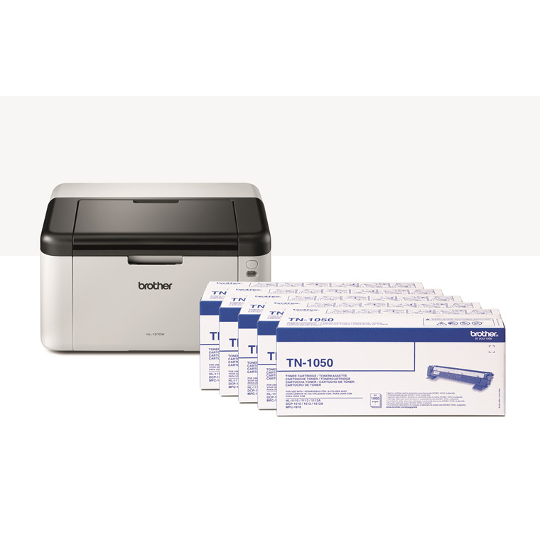 Brother HL-1210WVBP mono laser wireless inkl. 5 toners