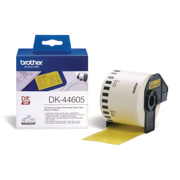 Brother Labels 62x30mm removable yellow paper