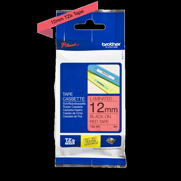 Brother Tape TZ431 - Labeltape  12 mm sort på rød lamineret