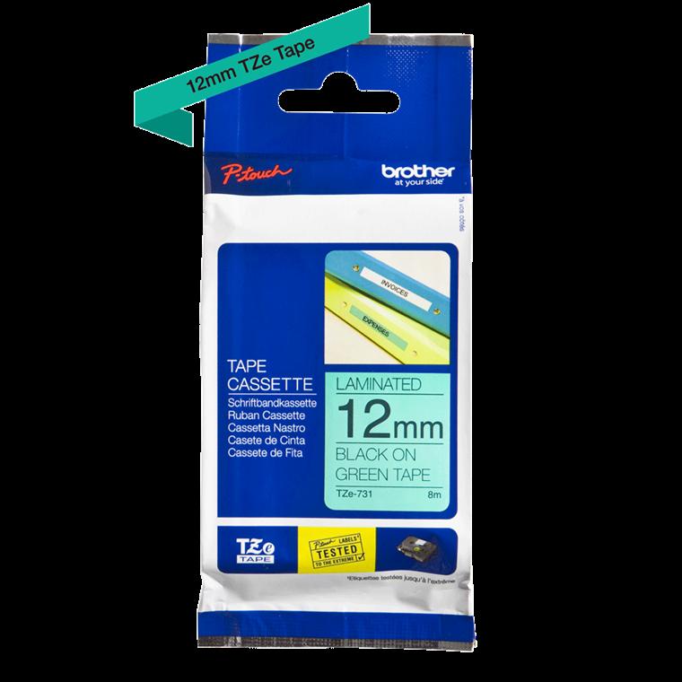 Brother TZ731 - Labeltape 12 mm sort på grøn lamineret