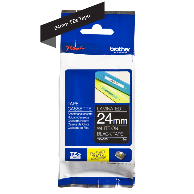 Brother TZe 355 - Labeltape 24 mm hvid på sort