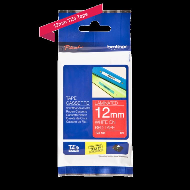 Brother TZe 435 - Labeltape 12 mm hvid på rød