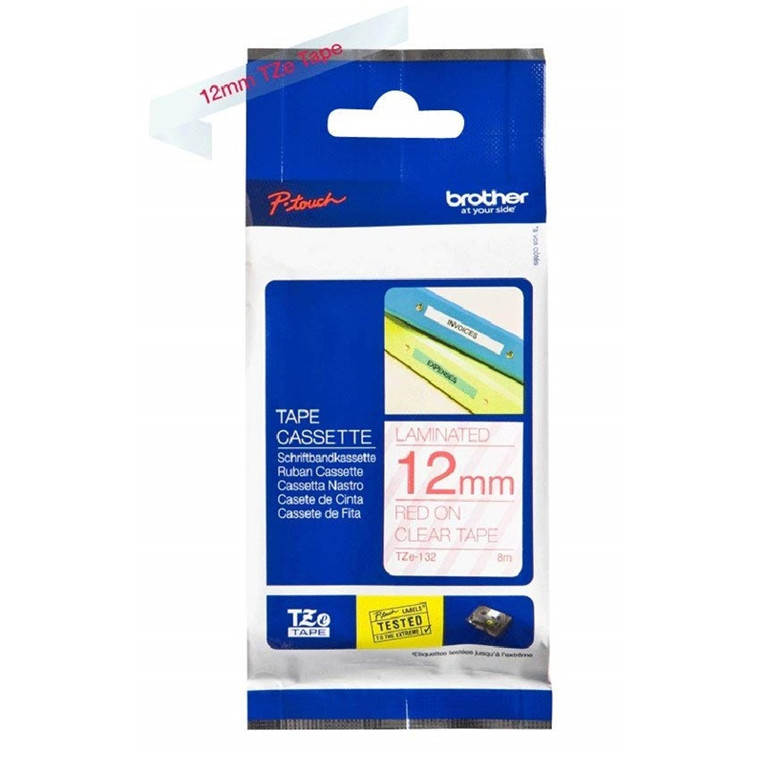 Brother TZe tape 12mmx8m red/clear