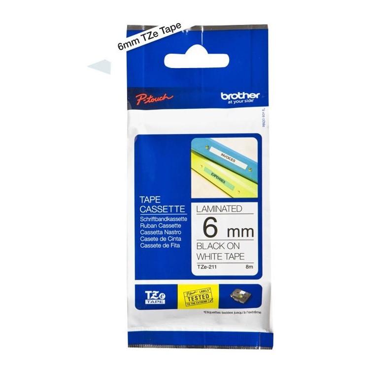 Brother TZe211 - Labeltape 6 mm sort på hvid lamineret