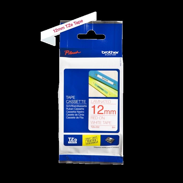 Brother TZe232 - Labeltape 12 mm rød på hvid lamineret