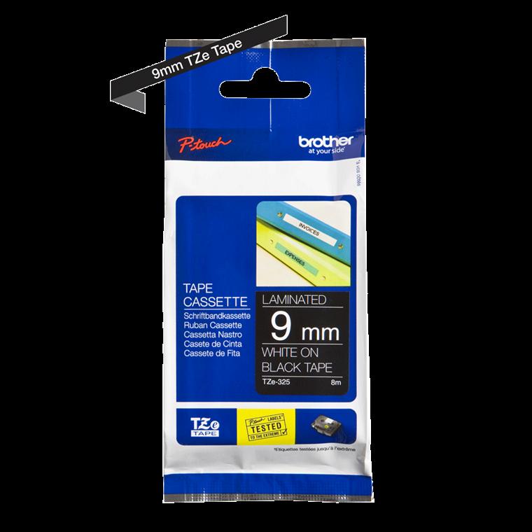 Brother TZe325 - Labeltape 9 mm hvid på sort lammineret