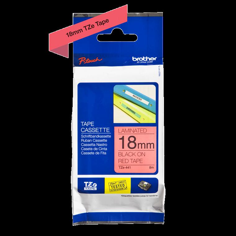 Brother TZe441 - Etiket tape 18 mm sort på rød lamineret