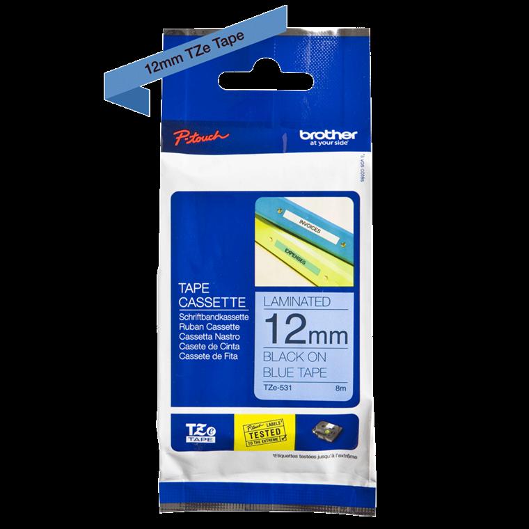 Brother TZe531 - Labeltape 12 mm sort på blå lamineret