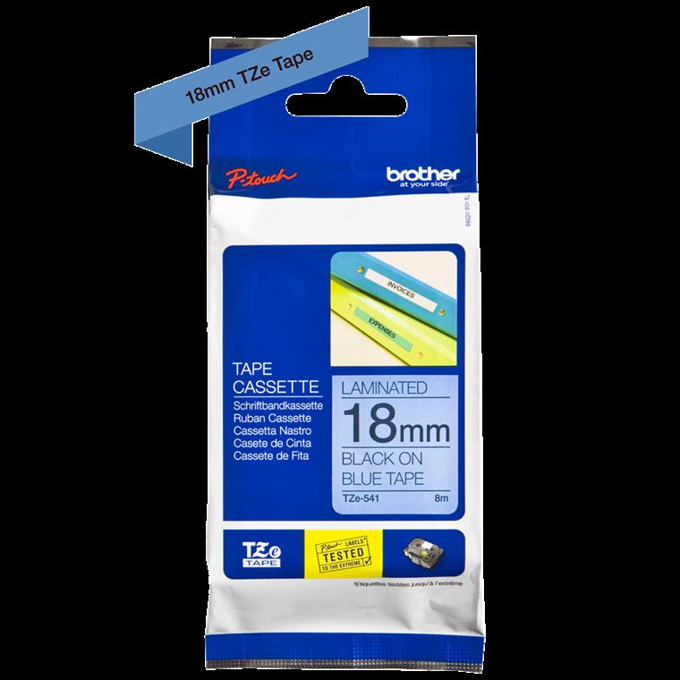 Brother TZe541  - Labeltape 18 mm sort på blå lamineret