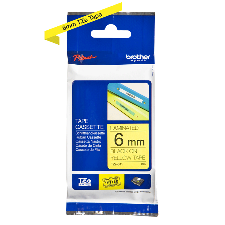 Brother TZe611 - Labeltape 6 mm sort på gul lamineret
