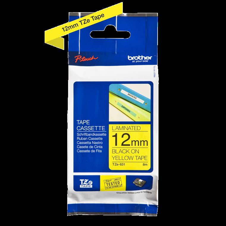 Brother TZe631 - Label tape 12 mm sort på gul lamineret