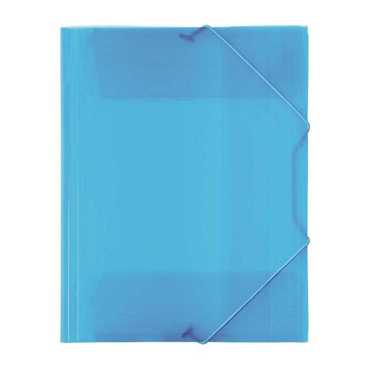 Büngers 3-klap elastikmappe A4 transp. blå