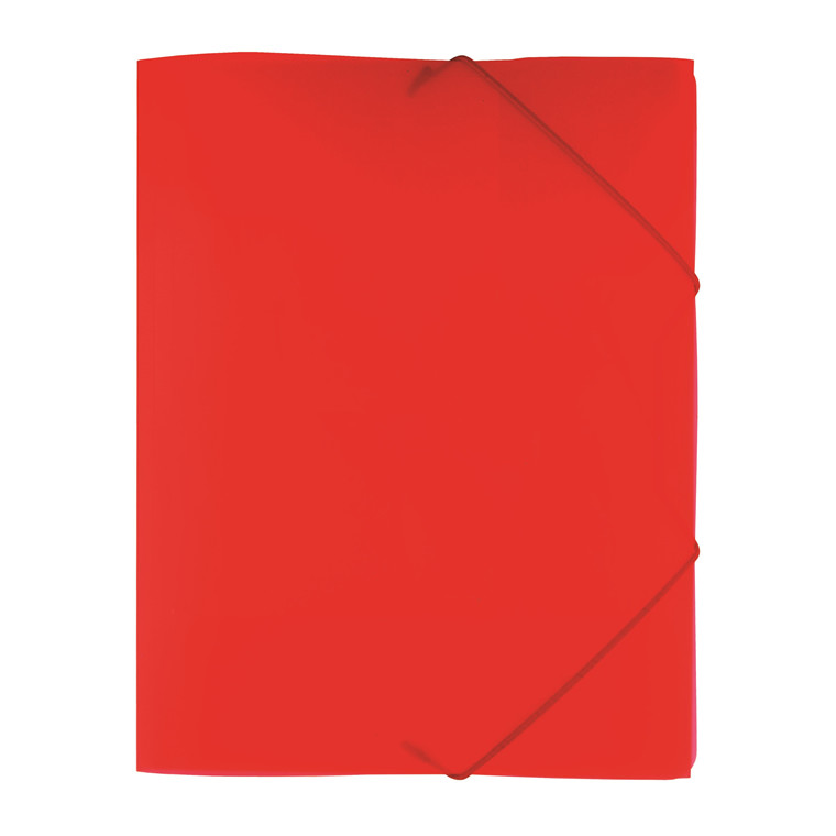 Büngers 3-klap elastikmappe A4 transp. rød