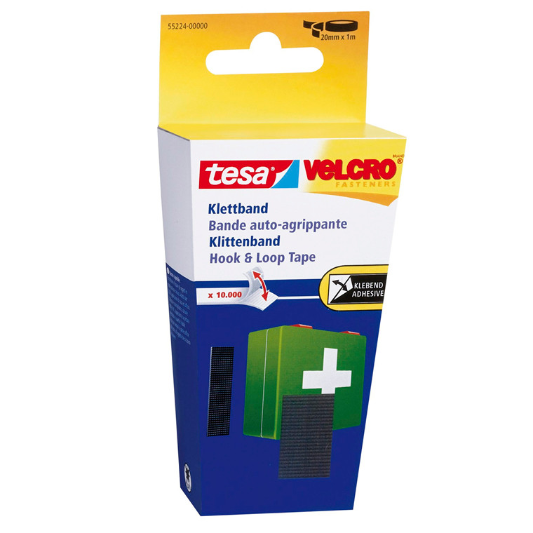 Velcro tape sort tesa 55224 - 20 mm x 1 m