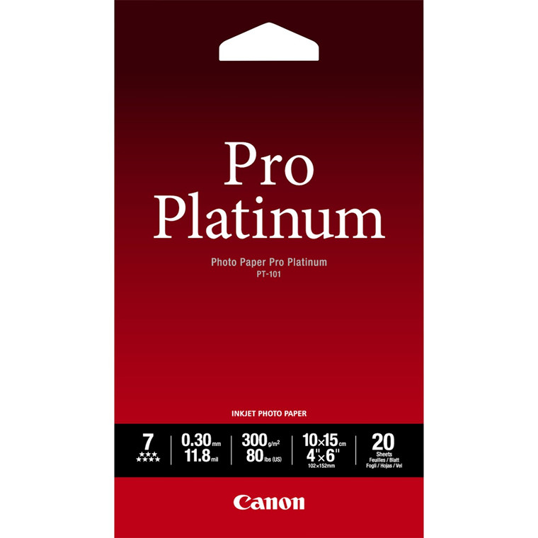 Canon - 10x15 cm 300 gram PT-101 Photo Papir Pro Platinum 20 ark