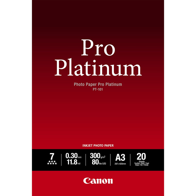 Canon - A3 300 gram PT-101 Photo Paper Pro Platinum 20 ark