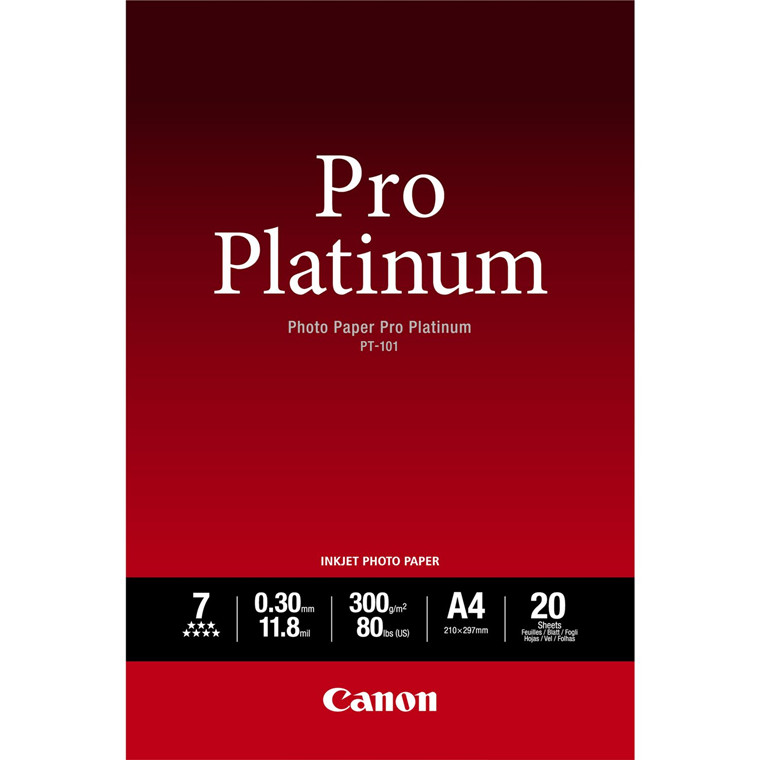 Canon - A4 300 gram PT-101 Photo Paper Pro Platinum 20 ark