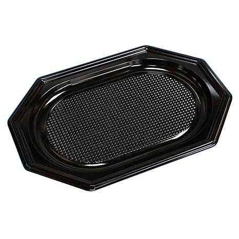 Cateringfad sort plast A-PET lille - 35 x 25 cm - oval - 100 stk.