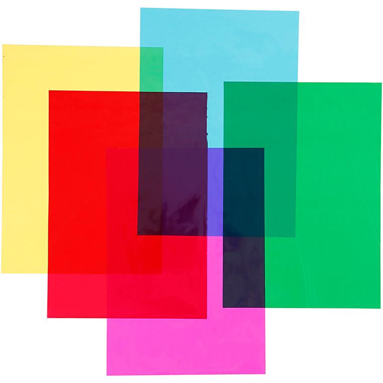 Cellofan A4 21 x 30 cm 25 micro assorteret farver | 100 ark