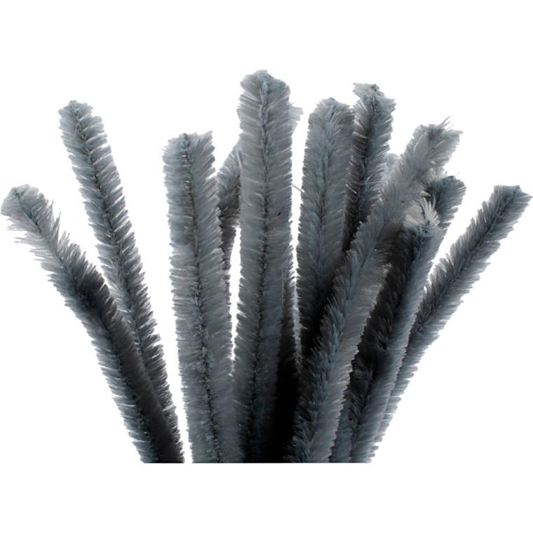 Chenille tykkelse 15 mm længde 30 cm grå   15 stk.