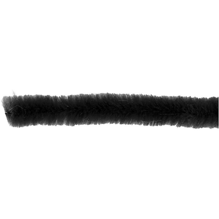 Chenille tykkelse 6 mm længde 30 cm sort   50 stk.