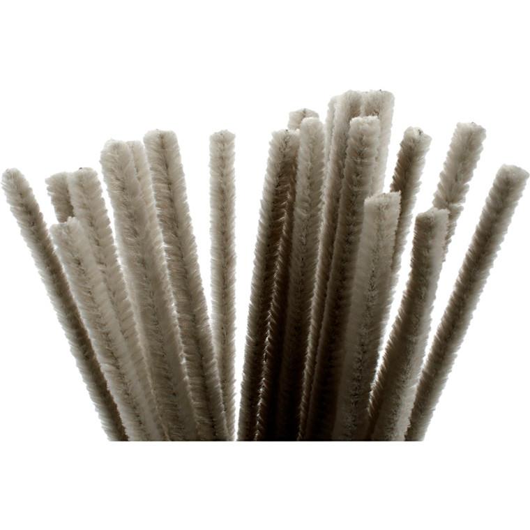 Chenille tykkelse 9 mm længde 30 cm grå   25 stk.