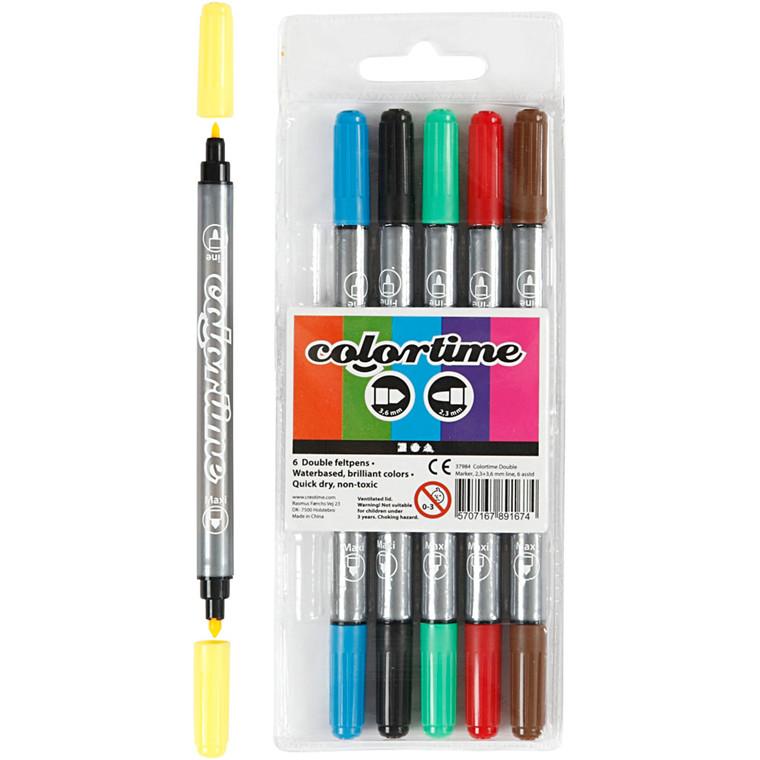 Colortime dobbelt tusch, stregtykkelse: 2,3+3,6 mm, 6stk.